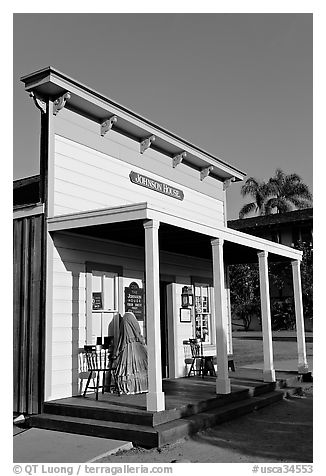 Johnson house, Old Town State Historic Park. San Diego, California, USA (black and white)
