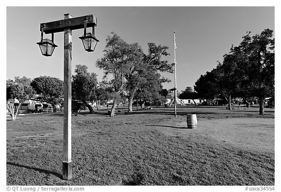 The Plaza, laid out in 1820, Old Town State Historic Park. San Diego, California, USA (black and white)