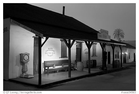 Historic building at night, Old Town State Historic Park. San Diego, California, USA (black and white)