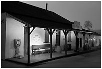 Historic building at night, Old Town State Historic Park. San Diego, California, USA ( black and white)