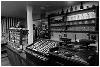 Interior of apothicary store, Old Town. San Diego, California, USA ( black and white)