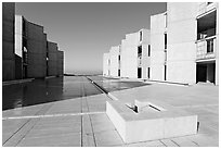 Square fountain and courtyard, Salk Institute. La Jolla, San Diego, California, USA (black and white)