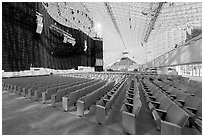 Interior of the Crystal Cathedral with set for the Glory of Christmas. Garden Grove, Orange County, California, USA ( black and white)