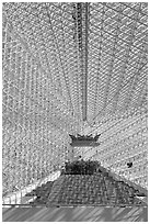 Interior structures of the Crystal Cathedral. Garden Grove, Orange County, California, USA ( black and white)