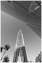 Bell tower and facade of the Crystal Cathedral, designed by Philip Johnson. Garden Grove, Orange County, California, USA ( black and white)