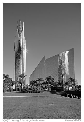 Crystal Cathedral and  bell tower, buildings made of glass for Televangelist Robert Schuller. Garden Grove, Orange County, California, USA (black and white)