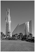 Crystal Cathedral and  bell tower, buildings made of glass for Televangelist Robert Schuller. Garden Grove, Orange County, California, USA ( black and white)