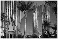 Bell Tower, Crystal Cathedral and reflections. Garden Grove, Orange County, California, USA ( black and white)