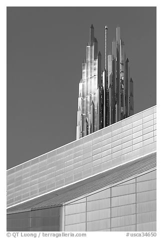 Detail of Bell Tower and Crystal Cathedral. Garden Grove, Orange County, California, USA (black and white)