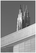 Detail of Bell Tower and Crystal Cathedral. Garden Grove, Orange County, California, USA ( black and white)