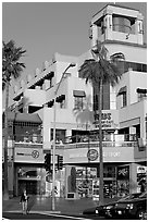 Shopping center on waterfront avenue. Huntington Beach, Orange County, California, USA (black and white)