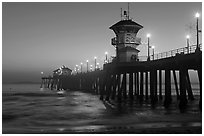 Huntington Pier lights at twilight. Huntington Beach, Orange County, California, USA (black and white)