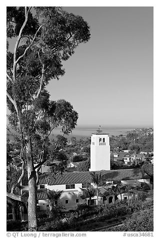 Eucalyptus and church in mission style. Laguna Beach, Orange County, California, USA (black and white)