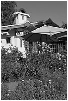 Garden and restaurant. Laguna Beach, Orange County, California, USA ( black and white)