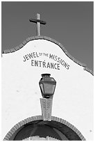 Entrance with sign Jewel of the Missions. San Juan Capistrano, Orange County, California, USA ( black and white)