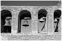 Bell Wall. San Juan Capistrano, Orange County, California, USA ( black and white)