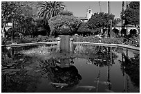Moorish-style fountain in main courtyard. San Juan Capistrano, Orange County, California, USA ( black and white)