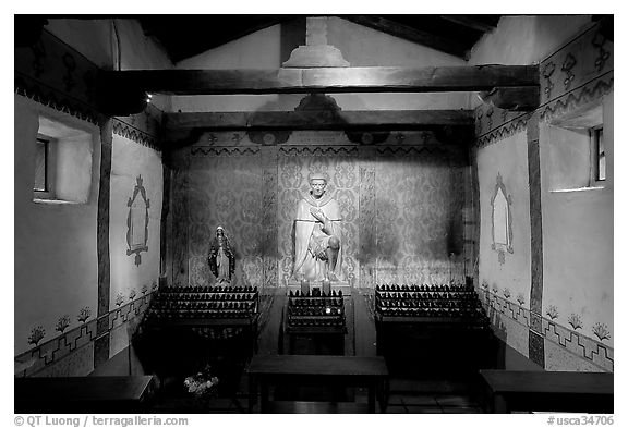 Side chapel dedicated to St Peregrine. San Juan Capistrano, Orange County, California, USA (black and white)