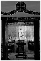 Side chapel in the Serra Chapel. San Juan Capistrano, Orange County, California, USA ( black and white)