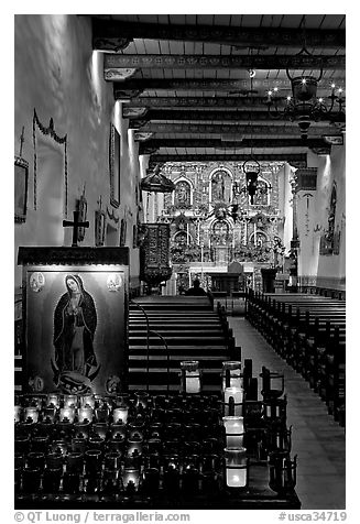 Inside of original mission chapel, constructed in 1782. San Juan Capistrano, Orange County, California, USA (black and white)