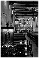 Inside of original mission chapel, constructed in 1782. San Juan Capistrano, Orange County, California, USA ( black and white)