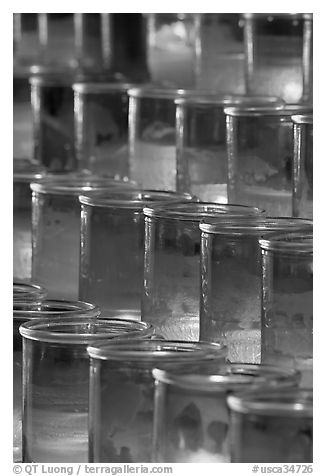Red candles in glass, sharp. San Juan Capistrano, Orange County, California, USA (black and white)