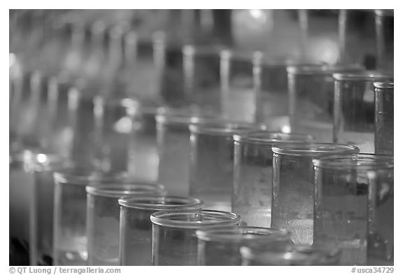 Rows of candles, narrow depth of field. San Juan Capistrano, Orange County, California, USA (black and white)