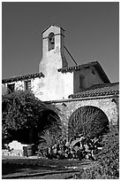 Bell tower. San Juan Capistrano, Orange County, California, USA ( black and white)