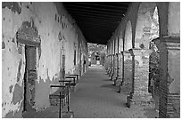 Corridor around the central courtyard. San Juan Capistrano, Orange County, California, USA ( black and white)