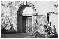 Cactus, and weathered facade. San Juan Capistrano, Orange County, California, USA ( black and white)