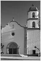 Mission basilica,  afternoon. San Juan Capistrano, Orange County, California, USA ( black and white)