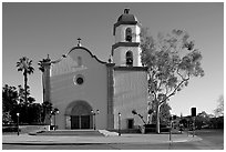 Mission basilica. San Juan Capistrano, Orange County, California, USA ( black and white)