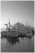 Fishing boats and Morro Rock, sunset. Morro Bay, USA (black and white)