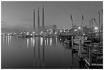 Power station and fishing boats, dusk. Morro Bay, USA (black and white)