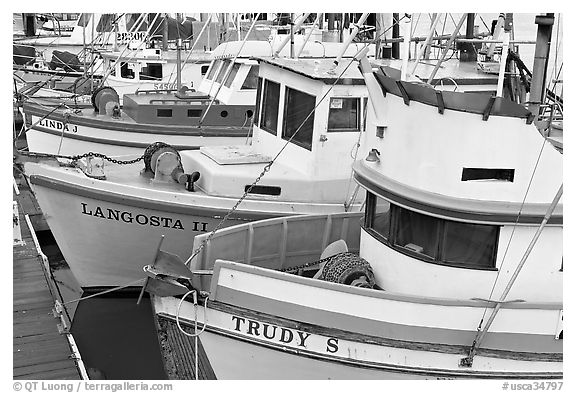 Close-up of colorful fishing boats. Morro Bay, USA (black and white)