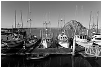 Harbor and Morro Rock, morning. Morro Bay, USA (black and white)