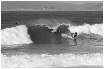 Surfer and wave. Morro Bay, USA (black and white)