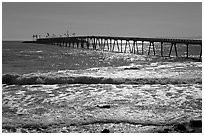 Pier and Rincon island. California, USA (black and white)