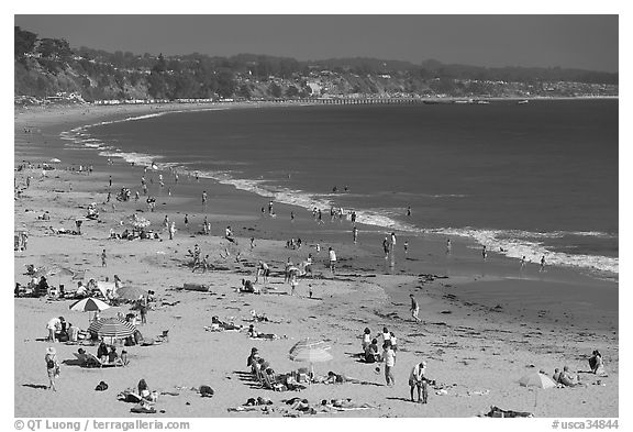 New Brighton State Beach, afternoon, Capitola. Capitola, California, USA (black and white)