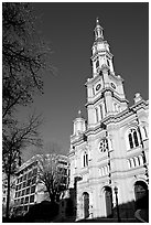 Cathedral of the Blessed Sacrament, afternoon. Sacramento, California, USA ( black and white)