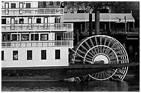 Paddle Wheel of the steamer  Delta King. Sacramento, California, USA (black and white)