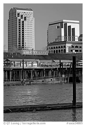 Sacramento Riverfront. Sacramento, California, USA (black and white)