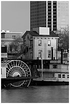 Paddle Steamers, historic house, and high rise building. Sacramento, California, USA (black and white)