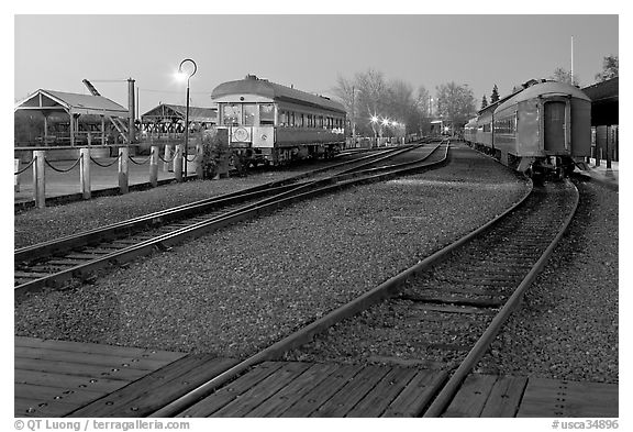 Railroad tracks and cars, Old Sacramento. Sacramento, California, USA (black and white)
