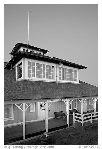 South Bay Yacht club at dusk, Alviso. San Jose, California, USA (black and white)