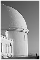 Dome housing the refractive telescope, Lick obervatory. San Jose, California, USA (black and white)
