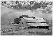 Barn with fresh dusting of snow. San Jose, California, USA (black and white)