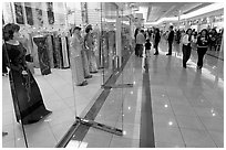 Ao Dai Vietnamese traditional formal dresses, Grand Century mall. San Jose, California, USA (black and white)