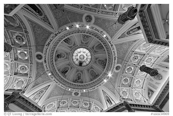 Dome of Cathedral Saint Joseph from inside. San Jose, California, USA