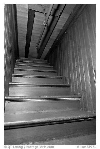 Staircase leading to closed ceiling. Winchester Mystery House, San Jose, California, USA